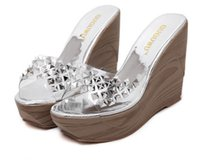 2016 Or Argent Transparent Rivets Pu Platform Wedge Chaussures High Heel Pantoufles Plage Chaussures Taille 35 à 39