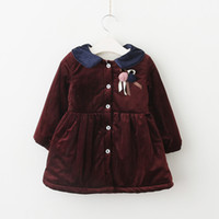 Wholesale Girls Over Coat - Everweekend Kids Girls Velvet Button Turn-over Collar Winter Warm Coats Children Red Blue Color Outwears Baby Coats
