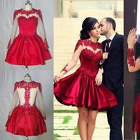 Wholesale Cocktail Dress High - 2015 Real Photo Burgundy Formal Homecoming Dresses Lace Applique Crew Neck Tulle Long Sleeves Satin A-Line Knee Length Cocktail Party Gowns