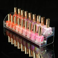 Wholesale Wood Makeup Organizer - Lipstick Jewelry Mac Nail Polish Rack Display Stand Holder 2 Tier New Style Makeup Cosmetic Clear Acrylic Organizer Makeup Shelf