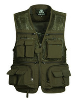 Wholesale Outdoor Vests For Men - Fall- Summer Mesh Vests for Hunting Photographer Vest with Many Pockets Director Outdoor Military Style Sleeveless Jackets M-4XL