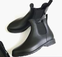botas de geléia venda por atacado-Novas mulheres Da Moda Jelly Tornozelo Alta Martin U Botas de Chuva Curto Preto De Borracha Galochas Wellies sapatos gota transporte