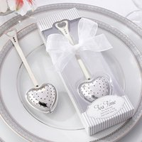 Wholesale Wholesale House Tea Strainer - Wedding Favor Creative home gift teaspoon Stainless steel tea spoon Love tea strainer tea strainers suit Gift Box packing