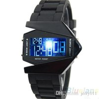 Wholesale Watches Light Women - LED Aircraft watches Digital men sports watch military watch Stainless steel Back Light women DRESS Silicone Wristwatches 1O1K