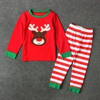 Baby Boys Girls Christmas Pajamas Kids с длинным рукавом Xmas PJS Cotton Pajamas Children Autumn Clothing Set Бесплатная доставка