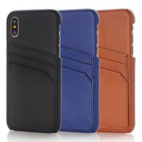 Wholesale Retro Cell Phone Holder - Luxury cell phone case for iphone X 6S 7 8 plus mobile phone retro leather TPU hard back case wallet cover with credit card slots holder