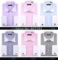 Wholesale green man cufflinks - Wholesale-brand French cufflinks shirts Men Dress Shirts 2015 New Non Iron Luxury Long Sleeve Brand Formal Business Fashion Cotton Shirts