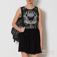 Tank Top blue eyed cat - women s dresses Lady Elegance A line casual Blue eyed cat printed waist thin minimalist style cotton Fashion vest dress skirt T040