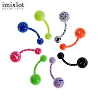 8pcs / lot Candy Colours Double Balls Piercing Belly Button Кольца 18G Navel Piercing Nombril Ombligo Steel Body Jewelry