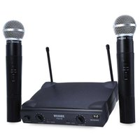 Wholesale Vhf Mic - Hot WEISRE PGX58 Omni-directional VHF Dual Handheld 2 x Mic Cordless Receiver Wireless Microphone with Receiver for Karaoke KTV