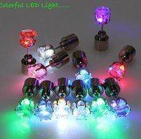 Wholesale Crystal Strobe Christmas Lights - Christmas Gift LED Stud Flash Earrings Hairpins Strobe LED Earring Lights Strobe LED Luminous Earring Party Magnets Fashion Earring Lights