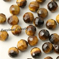 Wholesale Tiger Eye Faceted - 8mm Faceted Tiger Eye Stone Beads For DIY Natural Stone Beads 5 Strands Wholesale(50pcs strand)