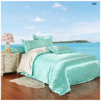 Wholesale Pink Green Comforter Queen - Smooth satin silk bedding sets artificial silk bed linen silk comforter bedsheet pillowcase pure color water blue milk white 5030