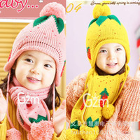 Wholesale Strawberry Scarves - Wholesale-New hat scarf autumn winter warm strawberry 2 woolly hat scarf children's clothing and accessories Free shipping ZP018