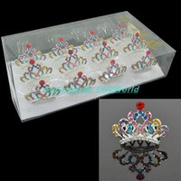 Wholesale Colorful Crystal Comb - 12pcs lot Colorful Cute Mini Princess Crown Bling Hair Comb Crystal Rhinestone Tiaras Bridal Party Headwear Girls Hairpin