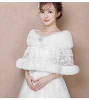 Wholesale lace bridal jackets resale online - 2019 Winter Wedding Coat Bridal Faux Fur Wraps Warm shawls Outerwear Shrug Women Lace Rhinestone Crystals Jacket Prom Evening