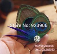 Wholesale Royalblue Bridesmaid - royalblue feather peacock hair clip Headpiece bride Fascinator Bridesmaids Fascinator hair piece 10pcs lot
