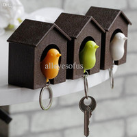 Atacado-2015 moda Whistle Bird House keychain para as chaves Wall Mount Hook Holder Sparrow plástico chaveiro casal chaveiros presente