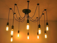 edison tarzı kolye toptan satış-Edison Tasarım Kolye Işık Edison Vintage Örümcek Avize pedant Lamba, E27 Edison Avizeler Amerikan Tarzı Led Ampuller