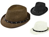 Wholesale Rivet Hats Cap - Unisex Women Men Casual Trendy Sun Straw Hat Summer Sun Beach Hat Rivet Jazz Cap Cowboy Fedora Trilby Gangster 3 Colors 6Pcs Lot