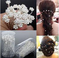 Wholesale Pin Diamante - 2016 Wedding Accessories Bridal Pearl Hairpins Flower Crystal Rhinestone Diamante Hair Pins Clips Bridesmaid Women Hair Jewelry 40 pcs Lot