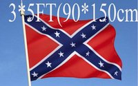 Wholesale Wholesale Confederate Flags - 5pcs two Sides Printed Flag Confederate Rebel Civil War Flag National Polyester Flag 5 X 3FT free shipping