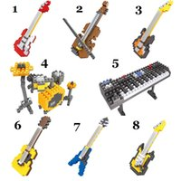Wholesale 8pcs Building Blocks Toys HSANHE Bricks D Musical Instruments Diamond Building Block Action Figures for Kids