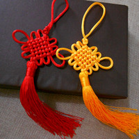 Wholesale Chinese Decoration Knot - Red Yellow Color Chinese Knots Fashion Car Hanging Accessories DIY Weaving Handicraft Beautiful HOT Interior Decorations 100pcs lot SK396