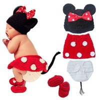 Wholesale Hat Shoes Sets - Retail Newborn Baby Girls Polka Dot Bow Hat + Knitted Skirt + Diaper Cover + Shoes Minnie Mouse Crochet Costume Outfit Set Photo Props 0-12M