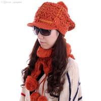Wholesale Knitting Ruffle Scarves - Wholesale-YM-10# Women Flower Decor Braided Wool Hat & Ruffled Sweet Knitted Scarf