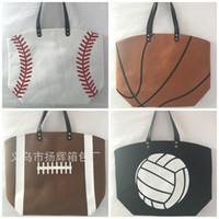 Wholesale Fiber Shops - Foldable Shopping Bag Polyester Fiber Printed Portable Handbags Baseball Tote Softball Basketball Football Volleyball Canvas Bags New 17yh B