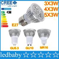 mr16 led lampara de luz regulable al por mayor-CREE LED de alta potencia bombillas punto 9W 12W 15W regulable GU10 MR16 E27 E14 GU5.3 B22 llevó el proyector de luz de iluminación de la lámpara