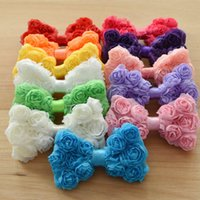 Wholesale Lace Hairclip - Baby Hair Accessories butterfly knot floral hairbow lace bowknot for Easter Hair flower without hairclip First Birthday Gift Baby Photo Prop