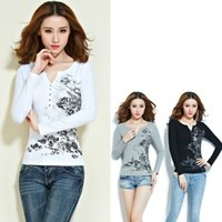 Wholesale Chinese Blouse Fashion - Women Blouses Fashion Lady Shirt Long Sleeve Chinese Ink And Wash Print Cotton Casual Female Top