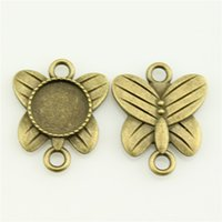 100pcs / lot 12mm Vintage Antique Bronze Papillon Rond Couleur Forme Cameo Cabochon Base de connecteur Configuration