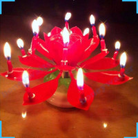 Wholesale Birthday Lotus Blossom - 3pcs Birthday Rotating Musical Lotus Flower Blossom Candle Cake Scented Candles Lamp Geburtstag Kerze Bougies Party Decor