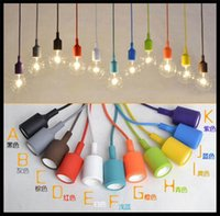 Wholesale Light Fixtures Wholesale Prices - wholesale price Art Decor Silicone E27 Pendant Lamp light bulb Holder Hanging lighting Fixture base Socket silica gel retro Colorful holder