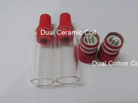 Wholesale Ego Tanks Tips - RED Skillet Atomier Ego Atomizer Glass Tube with Dual Ceramic Cotton Coils Vaporizer Cotton Wax Tank Drip Tip Bowling Cannon GlobeTank