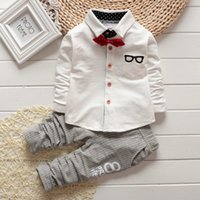 Wholesale Tie Cartoon Clothing - 2016 Baby sets Boy Clothing Sets children Bow tie shirts glasses cartoon pants kids cotton cardigan two piece suit bc154 outfit