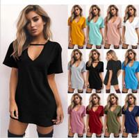 Wholesale Women Day Dresses Short Sleeve - Girls Plus Size Shirt Dress Sexy V Neck Summer Short Sleeve Dress Solid Casual Fashion Dresses Women T Shirt mini Dress KKA3363