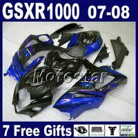 motocicletas gsxr plásticos venda por atacado-Kit de carenagem ABS para SUZUKI GSXR1000 2007 GSX-R1000 2008 carenagem de plástico preto K7 GSXR 1000 07 08 Hs16 + Assento capô