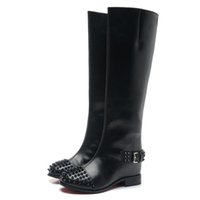 Wholesale Spike Platform Wedges - Fashion new Womens Sexy Round Spikes Toe Wedge Boots,Ladies 6cm heel red bottom knee boots 35-42 Free shipping