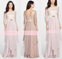 Wholesale Hot Pink Water Beads Wedding - Hot Arabic Long Sleeves Mother Of The Bride Dress Sexy Scoop Neck Lace Applique Beads Chiffon Modern A Line Formal Wedding Guest Gown BO9321
