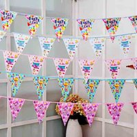 Wholesale Hanging Flag Pennant - Beautiful Color Party Flags Banners Birthday Party Cartoon Hanging Flags Pennant Garland Decoration Christmas Party Gift Favors SD455