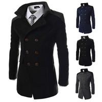 black mens trench coat - S5Q Mens Slim Lapel Woolen Trench Coat Warm Winter Long Bodycon Jacket Outerwear Overcoat AAAEBO