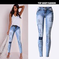 hellblaue sexy jeans großhandel-2016 Brand New Low-taille Hellblau Patchwork Dünne Frauen Jeans Hohe stretch Sexy Push-Up Loch Zerrissene Jeans Frauen Euramerican ...