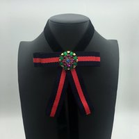 Wholesale Velvet Dresses For Kids - Kids big stripe Bows necklace boutique children colorful rhinestones velvet necklace sweet girls princess jewelry for dress up R1144