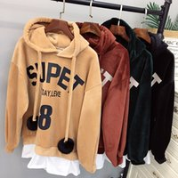 Wholesale Cute College Clothes - hoodies pullover sweatshirt junior women cute soild thick college universerty vintage loose winter clothes long sleeve hoodies teens fashion