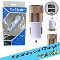 Wholesale Car Charger Dual Usb Retail - 2.1A Dual USB port Car Chargers Aluminum Alloy Metal Universal Fast Charging charger For Iphone Ipad HTC Samsung S7 with retail box