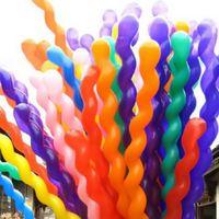 Wholesale Plastic Baloon - 100pcs lot Long 100cm Screw Thread Latex Balloon Float Air Balls Inflatable Wedding Birthday Party Baloon Decoration Globos Toys